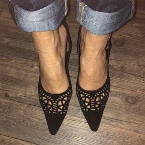 Manila Blahnik sling back black suede heels